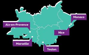 Carte du Sud de la France présentant le territoire exploité par Naturallye